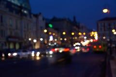 Abstrakta stadsnatttrafikljus Royaltyfria Foton