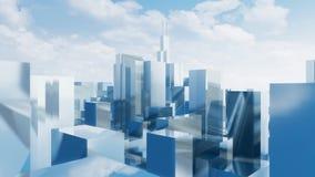 Abstrakta stadsskyskrapor Chicago 4K för spegel 3D royaltyfri illustrationer