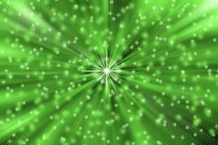 Abstrakta stjärnor spränger i grön bakgrund stock illustrationer
