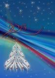 Abstrakta strålar på blå bakgrund med snöflingor och julgranen Arkivfoto