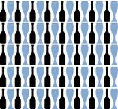 Abstrakta svartflaskor och blåa exponeringsglas, vektorillustration, sömlös modell Arkivfoton