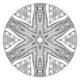 Abstrakta svartvita Mandala With Ethnic Ornament royaltyfri illustrationer