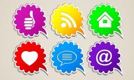 Abstrakta symboler för knapp för internetmolnrengöringsduk Royaltyfria Bilder