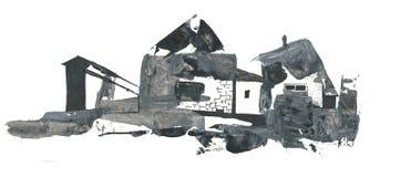 Abstrakta teckningsbyhus, teckning med akryl och penna Royaltyfri Bild