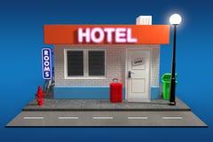 Abstrakta Toy Cartoon Hotel Building framförande 3d vektor illustrationer