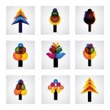 Abstrakta trädsymboler av sörjer, jul - vektordiagram Royaltyfri Foto