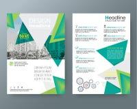Abstrakta trójboka broszurki sprawozdania rocznego pokrywy ulotki zielona poczta ilustracja wektor