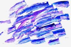 abstrakta trafienia szczotki Zakończenie czerep ręka malował akrylowego multicolor obraz na białym papierze, fiołku i błękicie, ilustracja wektor
