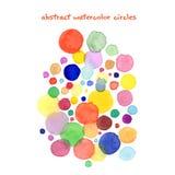 Abstrakta vattenfärgcirklar, målarfärg för vattenfärgkonsthand Vektor Illustrationer
