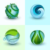 Abstrakta vattensymboler vektor illustrationer