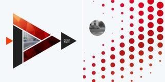 Abstrakta vektordesignbeståndsdelar för grafisk orientering Modern affärsbakgrundsmall med färgglade trianglar, arkivfoton