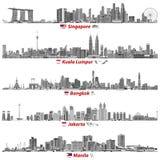 Abstrakta vektorillustrationer av Singapore, Kuala Lumpur, Bangkok, Jakarta och Manila horisonter på natten med flaggor och övers vektor illustrationer