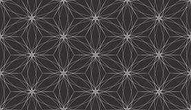 Abstrakta vita linjer geometrisk sömlös modellvektor för svart bakgrund Fotografering för Bildbyråer