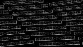 Abstrakta vita triangelformer på svart bakgrund djur Roterande 3D förlängde konstruktioner av trianglar vektor illustrationer
