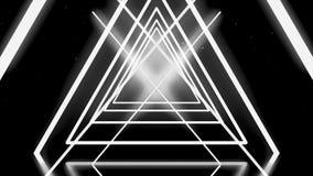 Abstrakta vita trianglar som korsar och bildar neontunnelen på svart bakgrund, sömlös ögla djur geometriskt vektor illustrationer