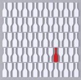 Abstrakta vitflaskor och röd mot grå bakgrund stock illustrationer