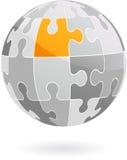 Abstrakta wektoru łamigłówki kawałka kula ziemska - logo ikona/ Fotografia Stock