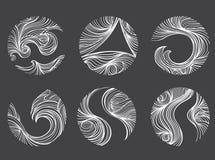 Abstrakta wiatru linii round kształta logo ikony set ilustracji