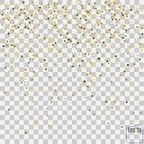 Abstrakta wzór przypadkowe spada złote gwiazdy na przejrzystym b Obrazy Royalty Free