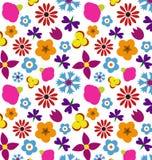 Abstrakta wzór z różami Kwiecista tapeta z ślicznymi kwiatami i liśćmi Obraz Royalty Free