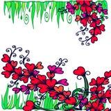 Abstrakta wzór z sercami i ziele ilustracja wektor