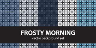 Abstrakta wzoru ustalony Mroźny ranek, błękit barwi Wektorowi seamles ilustracja wektor