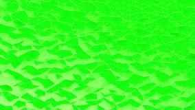 Abstrakta zieleń krystalizujący poligonalny tło Falowy ruch na poligonalnej powierzchni z cienkimi liniami Obrazy Stock