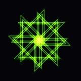 Abstrakta zielony neonowy kształt, futurystyczny falisty fractal gwiazda Obrazy Royalty Free