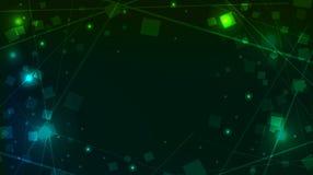 Abstrakta zielony tło z kwadratowym świecidełkiem i liniami Zdjęcia Royalty Free