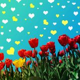 Abstraktachtergrond met tulpen voor groet met een Gelukkige Valent Royalty-vrije Stock Fotografie