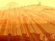Abstrakte Abbildung des Dorfs in den Sonnenuntergangstrahlen. Lizenzfreie Stockbilder