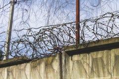 Abstrakte Abbildung des Stacheldrahts Stacheldraht auf Zaun mit dem blauen Himmel, zum sorgend zu glauben Lizenzfreie Stockfotografie