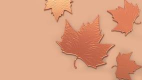 Abstrakte Ahornblattorange metallisch auf orange Wiedergabe des Hintergrundes 3d stockfotografie