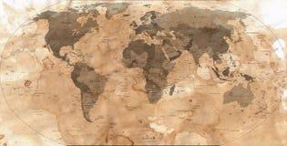 Abstrakte alte Karte der Welt Stockfotografie