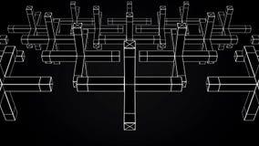 Abstrakte Animation der Bewegung der geometrischen Formen auf einem schwarzen Hintergrund Geometrisch komplexe Formen stock abbildung
