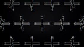 Abstrakte Animation der Bewegung der geometrischen Formen auf einem schwarzen Hintergrund Geometrisch komplexe Formen lizenzfreie abbildung