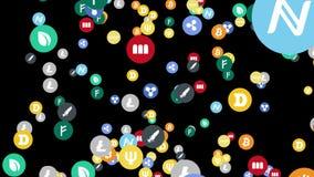 Abstrakte Animation von cryptocurrency unterzeichnen im digitalen Cyberspace auf einem schwarzen Hintergrund stock abbildung