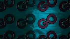 Abstrakte Animation von dreidimensionalen Chromfirmenzeichen 'gehen, 'auf glatte Türkisoberfläche zu setzen animation beweggrund lizenzfreie abbildung