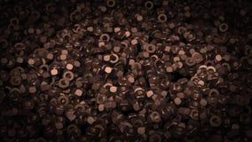 Abstrakte Animation von dunklen Metallnüssen stock video