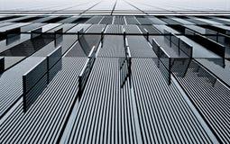 Abstrakte Ansicht eines Metallgebäudes Stockbild