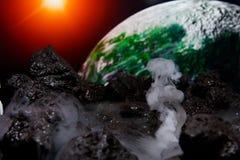 Abstrakte Ansicht von Erde von einem anderen Planeten Stockfotos