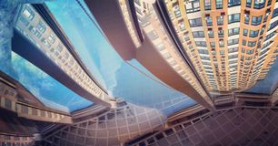 Abstrakte Ansichten eines modernen Wohngebäudes Stockbilder