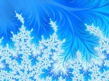 Abstrakte Aqua Blue Christmas Tree Branch mit weißen Schneeflocken Lizenzfreie Stockfotografie