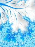 Abstrakte Aqua Blue White Christmas Tree-Niederlassung mit Schneeflocken Stockfoto