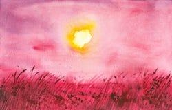 Abstrakte Aquarellillustration eines russischen Feldes mit einem roten Gras im Vordergrund lizenzfreie abbildung