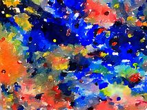 Abstrakte Aquarellmalerei auf Papier stock abbildung