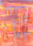 Abstrakte Aquarellmalerei. Rotes, gelbes, orange und violettes Col. Lizenzfreies Stockbild