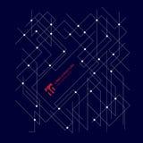 Abstrakte Architektur zeichnet Maßstruktur auf dunkelblauem b stock abbildung