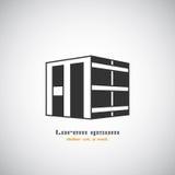 Abstrakte Architekturgebäudeschattenbildvektorlogo-Designschablone Immobiliengeschäftsthemaikone des Wolkenkratzers Lizenzfreies Stockbild