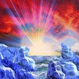 Abstrakte arktische Landschaft mit untergehender Sonne Lizenzfreie Stockfotografie